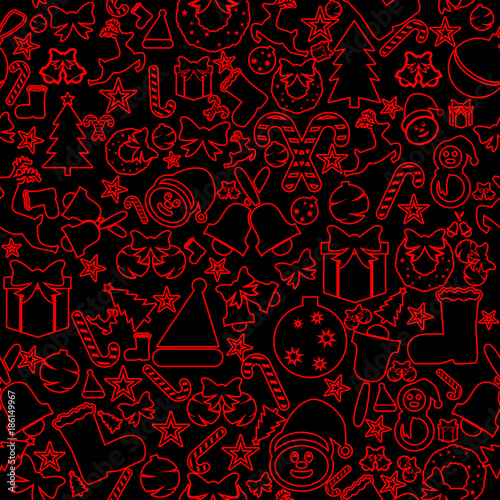 Poster Art abstrait Christmas seamless icons. Decoration vector