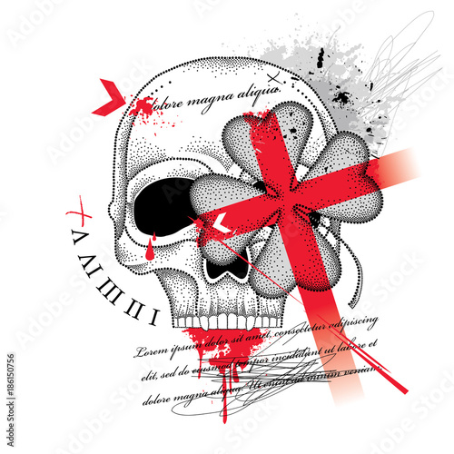 Keuken foto achterwand Vlinders in Grunge Vector drawing dotted skull, abstract cross and lucky four leaf clover in red and black isolated on white background. Sketch for tattoo flash in Trash Polka and dotwork. Creative Trash Polka design.