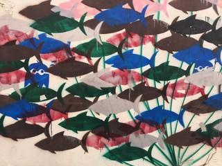 Fischschwarm Graffiti