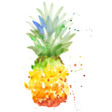 Exotic Pineapple Healthy Food In A Watercolor Style Isolated. Full Name Of The Fruit: Pineapple. Aquarelle Wild Fruit For Background, Texture, Wrapper Pattern Or Menu.