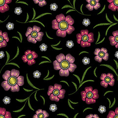 Embroidery floral seamless pattern with flowers and leaves