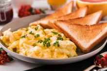 Scrambled Eggs With Toast Frui...