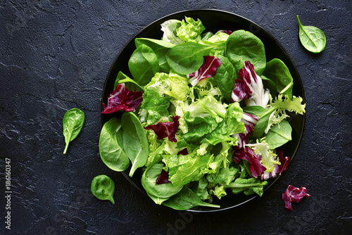 Mix salad leaves.Top view with copy space.
