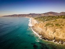 Drone View Of The Point Dume And Pirate's Cove Beach In Malibu