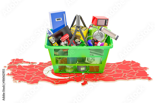 Poster Map of Turkey with shopping basket full of home and kitchen appliances, 3D rendering