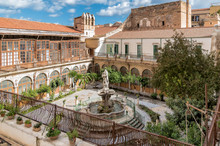 The Majolica Cloister With Fountain In Courtyard Of The Santa Caterina Church, Palermo, Italy.