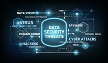 Data Security Threats Infographics - Information Data Security Risks Concept - Technology Vector Illustration