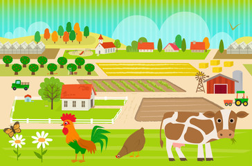 Fototapeta Do przedszkola Farmland Pattern - Colorful, farmland pattern with cow, hen and rooster. Eps10