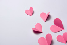 Beautiful Pink Paper Hearts On...
