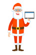 Santa Claus holding tablet PC