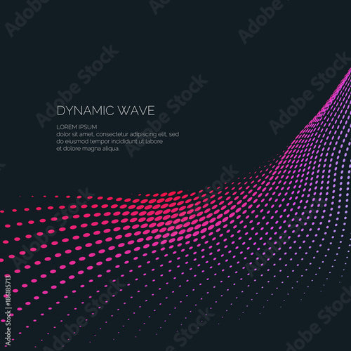 Fotografie, Obraz  Bright abstract background with a dynamic waves of minimalist style