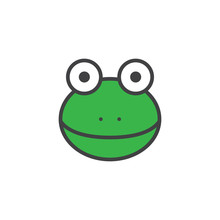 Frog Head Filled Outline Icon,...