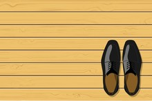 Top View Of Black Leather Men's Shoes On Wooden Background, Vector Illustration