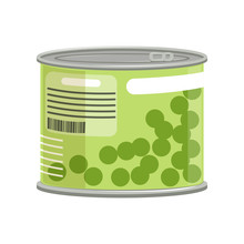Green Peas In Metallic Can Wit...