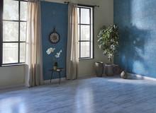 Decorative Windows Curtain And Blue Living Room Design