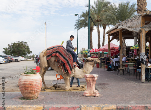 Fotografija  Camel driver with a camel stand in anticipation of a ride on a camel in Yeriho i