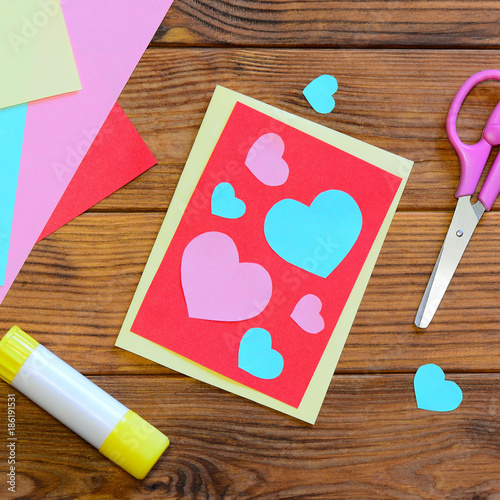 Valentines Day Or Mothers Day Greeting Card With Pink And Blue