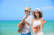 couple lover enjoy song and singing together on the sea beach at honeymoon and valentine occasion