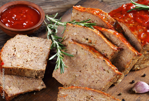 close-up of a meatloaf on board Poster
