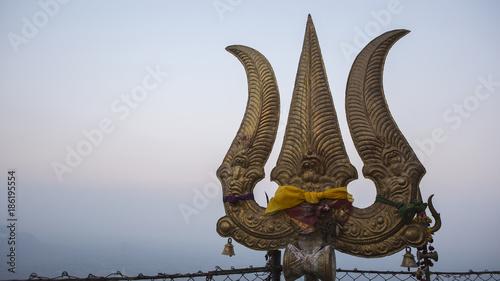 Trishul – the symbol of Lord Shiva closeup.
