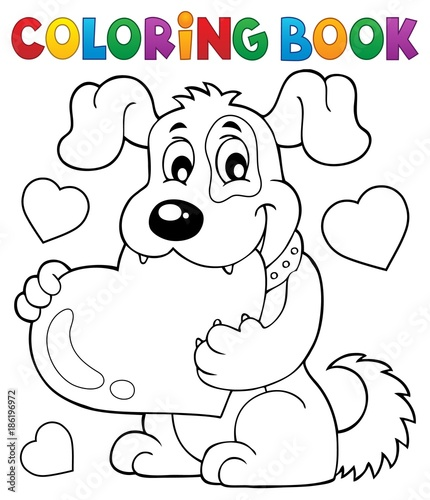Recess Fitting For Kids Coloring book Valentine dog theme 1