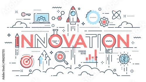 Fotografía  Innovation, new ideas, creativity and technology thin line concept