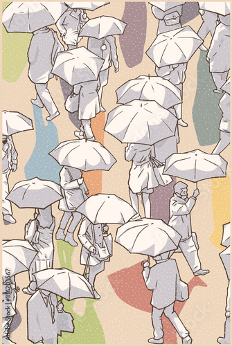 Foto op Canvas Abstract bloemen Illustration of city people walking in snow with umbrellas from high angle view in color