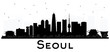 Seoul Korea City skyline black and white silhouette with Reflections.