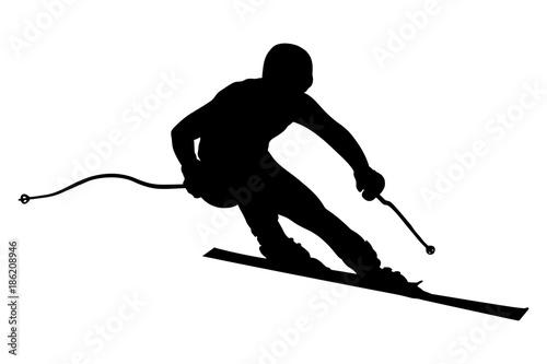 Fotomural athlete skier super slalom skiing black silhouette