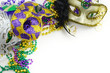canvas print picture - Mardi Gras border or frame of carnival masks, beads, ribbons and confetti in purple, green, gold and black on light background. Copy space