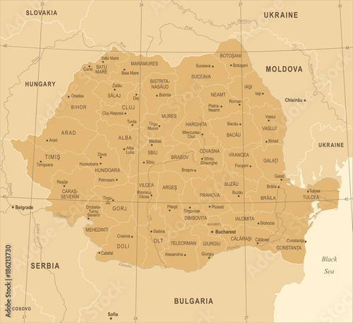 Romania Map - Vintage Detailed Vector Illustration Canvas Print