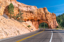 Red Canyon Tunnel Along Scenic...