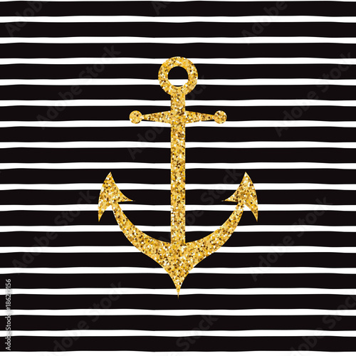 Fotografie, Obraz  Vector hand drawn banner with gold sparkle anchor on striped seamless pattern