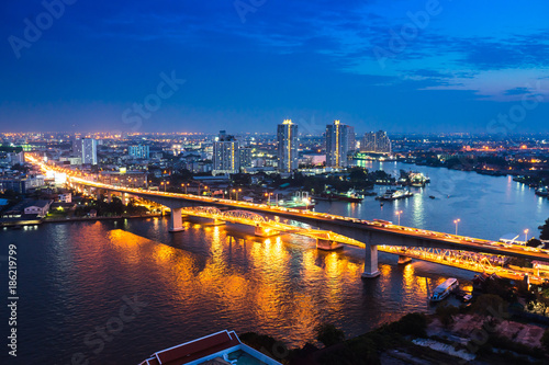 In de dag Bangkok Bangkok river side cityscape. Bangkok night view in the business district. at twilight.Panorama view of Bangkok city scape at night time. vintage colour tone