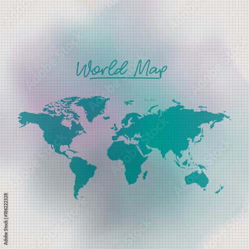 Garden Poster Retro sign world map in green color and grid background white degraded to green