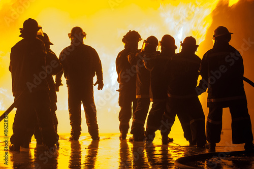 Poster Militaire Group of eight firefighters during fire fighting exercise