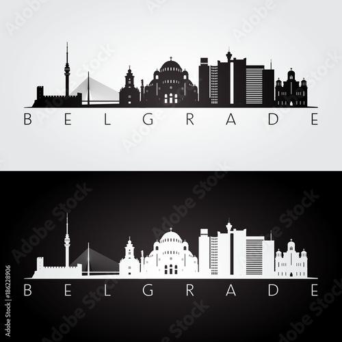 Belgrade skyline and landmarks silhouette, black and white design, vector illustration Canvas Print