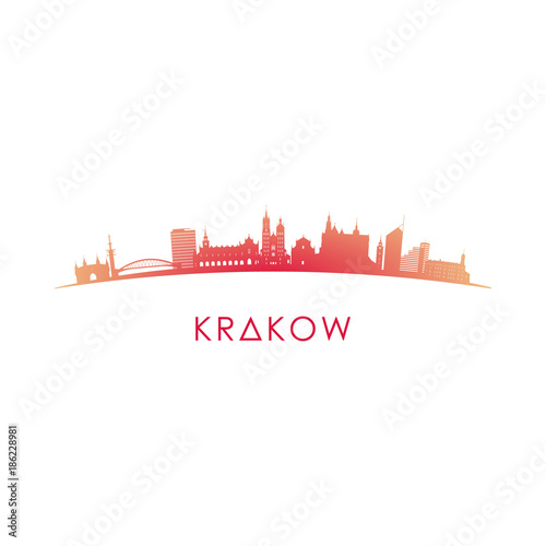Fototapeta Krakow skyline silhouette. Vector design colorful illustration. obraz