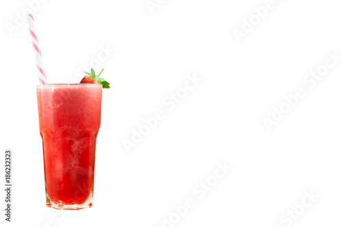 Strawberry juice smoothie in glass with fresh strawberry isolated on white background