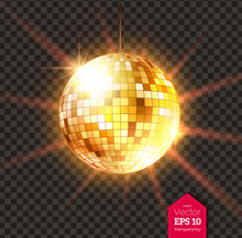 Golden Disco Ball With Light Rays