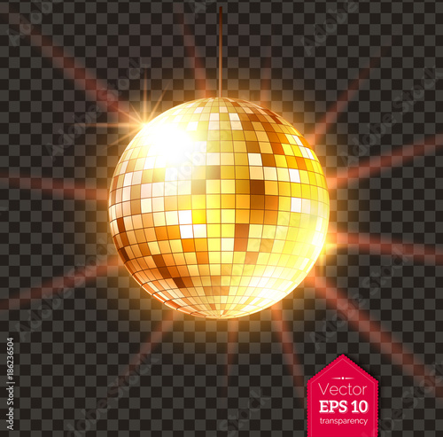 Fotomural Golden Disco ball with light rays