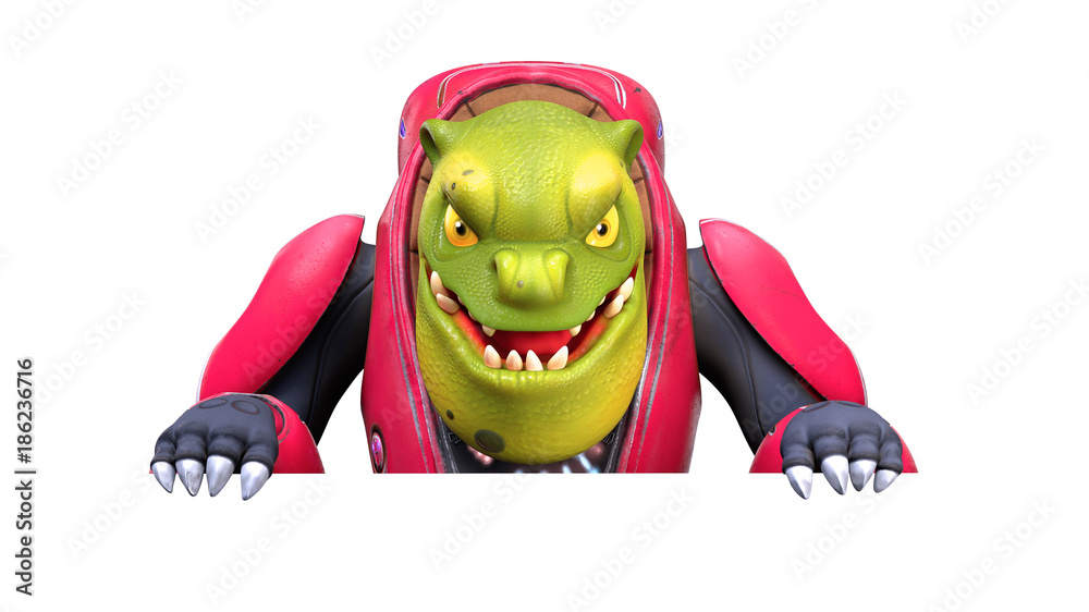 3d character of a cartoon funny orc with a white board. Green alien creature is smiling and looking at the camera. White background. 3d rendering.