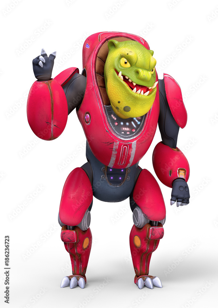 3d character of a cartoon funny orc showing peace hand sign. Green alien creature is smiling in a pink suit. White background. 3d rendering.