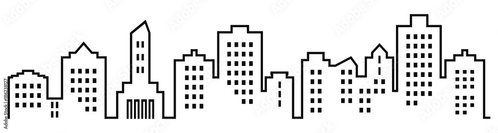 Fototapety, obrazy: Sillhouette of town, black vector icon