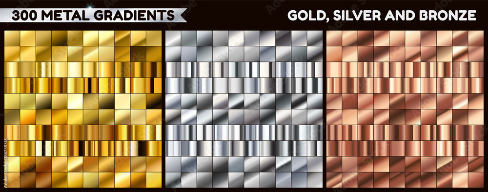 Fototapeta Big metal pack. Collection of gold, silver and bronze gradient for design. Vector gradients set.