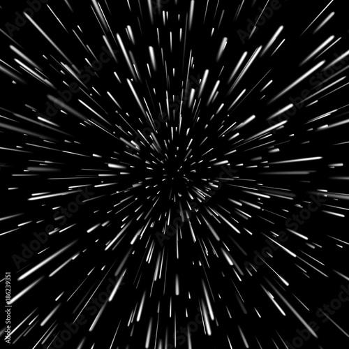 Wektorowy abstrakcjonistyczny tło z Open Space Travel lub Star Warp w Hyperspace