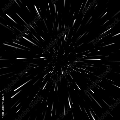 Wektorowy abstrakcjonistyczny tło z Star Warp lub Hyperspace. Światło ruchomych gwiazd.