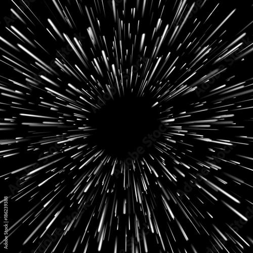 Wektorowy abstrakcjonistyczny tło z Star Warp lub Hyperspace z bezpłatną przestrzenią w centrum, światło chodzenie gwiazd pojęcie.