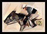 Horse with jockey on grunge backround - 186239968