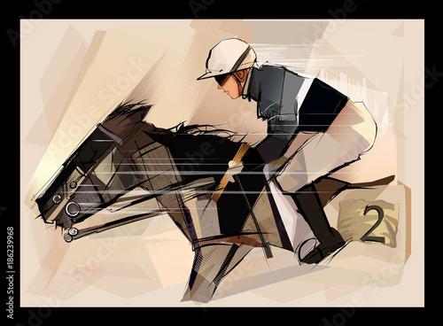Fotobehang Art Studio Horse with jockey on grunge backround
